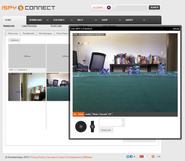 iSpyConnect Web Interface (multi view with live playback and PTZ controllers)
